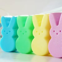 EASTER BUNNY Soap Peeps - Choose color, Easter bunny, easter basket, gift, kids, handmade, glycerin, gift wrapped, marshmallow peep