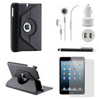 Gearonic TM iPad Mini and iPad Mini with Retina Display 5-in-1 Accessories Bundle Rotating Case Business Travel Combo - Black