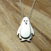 Sterling Silver Penguin Necklace with Gift Box - Animal Jewellery