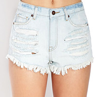 FOREVER 21 Denim Days Ripped Shorts Light Denim 30