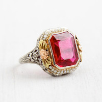 Antique 14k White Gold Genuine Ruby & Seed Pearl Ring - Size 8 Vintage Filigree Rose Yellow Gold Floral Accents Art Deco 1930s Fine Jewelry