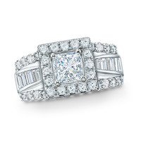2 CT. T.W. Frame Princess Cut Diamond Engagement Ring in 14K White Gold