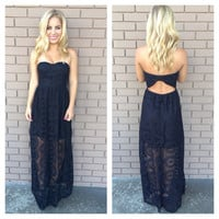 Black Doylee Lace Maxi Strapless Dress
