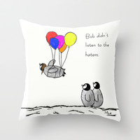 To be a Flying Penguin Throw Pillow by Trinity Bennett
