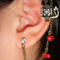 red owl Chain Ear cuff