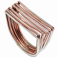 Copper and Silver Layered Ring | KejaJewelry - Jewelry on ArtFire