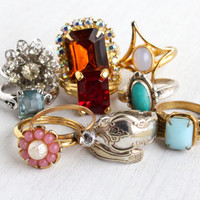 Vintage Ring Lot - 10 Gold Tone, Silver Tone, & Sterling Silver Rhinestone, Glass Stone, Lucite Signed Jewelry Collection