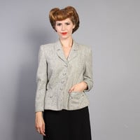 40s Tweed BLAZER / Dove GREY, Teal, Orange & Black FLECK Jacket, s - m