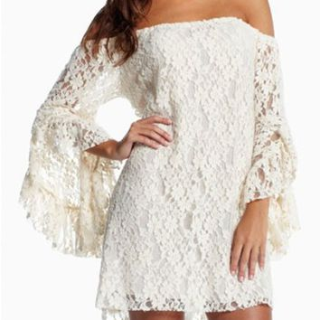 Pinkyee Women's Lace Off Shoulder Mini Dress One Size White