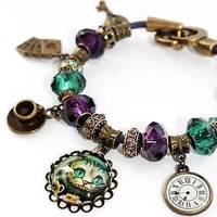 Alice in Wonderland European Charm Bracelet. Cheshire Cat, White Rabbit, Tea Cup