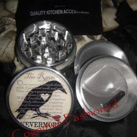 The Raven Nevermore Edgar Allan Poe 4 Piece Grinder Herb Aluminum | CognitiveFashioned - Novelty on ArtFire