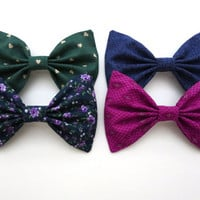 CHOOSE ONE from the Winter Bow Set-Large Hair Bows with Polka Dots, Hearts, Florals and Aztec