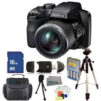 Fujifilm FinePix S8200 Digital Camera (Black) Kit. Includes: 16GB Memory Card, High Speed Memory Card Reader, 4AA Batteries + Charger, Tripod, Carrying Case & Starter Kit
