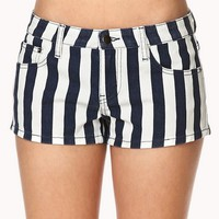 Bold Striped Denim Shorts