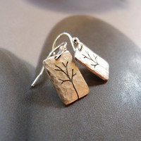 Trees Sterling silver earrings, dangle earrings, natural jewelry, small earrings