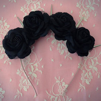 Black Dahlia-Pastel Goth Black Roses and Silver Spikes flower crown