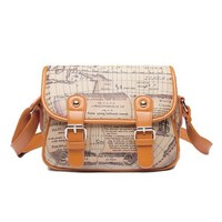World Map Print Buckles Cross Body Messenger Shoulder Bag