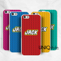 iPhone 4/4S iPhone 5/5S iPhone 5C personalised name initial plastic cover case, custom made colorful lego case for iphone, E88