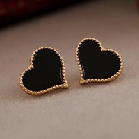 HuaYang Korean Fashion Sweet Colorful Enamel Love Heart Shape Gold border Stud Earrings(Black)