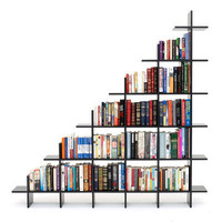 4&#x27; Wide 2-Tier Bookshelf Black Bookshelf by Smart Furniture