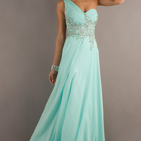 One Shoulder Prom Gown with Sheer Back by Tiffany Designs