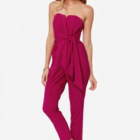 LULUS Exclusive Sash Money Strapless Magenta Jumpsuit