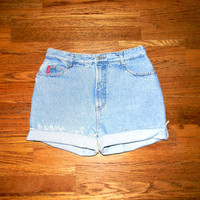Vintage Denim Cut Offs, High Waisted 90s Light Wash Blue Jean Shorts, Cut Off/Frayed/Distressed/Rolled Up BONGO Brand Shorts Size 9/10 11/12