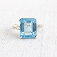 Vintage Sterling Silver Blue Stone Ring - Retro 1960s Art Deco Style Size 7 Aqua Blue Emerald Cut Glass Stone Jewelry