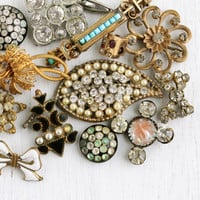 Antique Jewelry Repair Lot - 13 Victorian, Edwardian, Deco - Broken Pins, Pendants, Destash Findings for Repair, Parts, or Repurpose