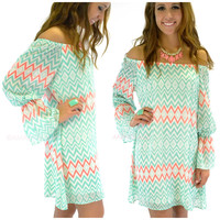 River Rouge Mint Open Shoulder Bell Sleeve Dress