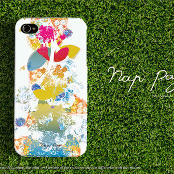 Apple iphone case for iphone iphone 5 iphone 5s iphone 5c iphone 4 iphone 4s iPhone 3Gs : Abstract rainbow jewelry leaf