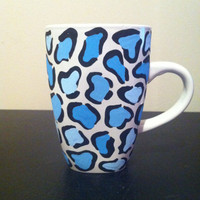 Blue leopard print coffee cup
