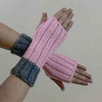 Fingerless Gloves Hobo Rib Knit Light Pink Grey Short Arm Warmers Mittens Cute