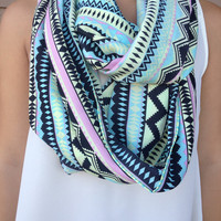 Light Mint Geo Tribal Infinity Scarf