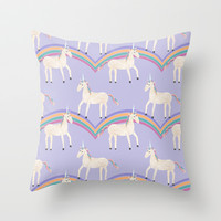 Unicorn Pattern on Pastel Purple Throw Pillow by Tangerine-Tane