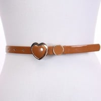 Camel Patent Faux Leather Buckle Belt