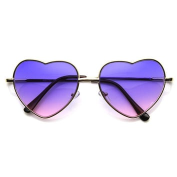 Super Cute Retro Metal Heart Shape Sunglasses With Rainbow Color Lens 9205