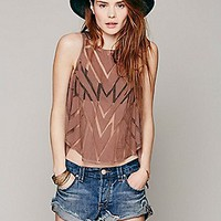 Free People Womens Caged Cutwork Top