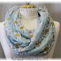 LAZY DAISY in soft blue mist, cotton lightweight tube scarf, womens spring infinity scarf, easter scarf, scarves Catherine Cole Studio SC2