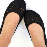 Orlando Black Caged Flats