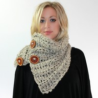 All Buttoned Up - Cozy Oversized Neck Warmer Huge Wood Buttons Unisex Scarf in Any Color