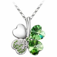 Beautiful 18K 4 Leaf Lucky Clover Green Necklace