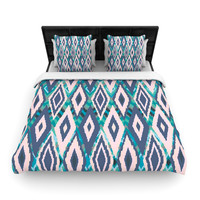 "Nika Martinez ""Tribal Ikat"" Blue Pattern Fleece Duvet Cover"