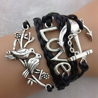 Change Love and Peace Leather Wrap Bracelet Black and Silver