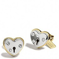 HEART PADLOCK STUD EARRINGS