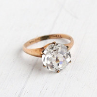 Antique Gold Shell Faux Diamond Solitaire Ring - Vintage Edwardian Size 5 1/2 Jewelry / Faceted Stone