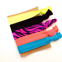 Neon Glitter Tiger Zebra Print Black Blue Pink Yellow Coral Hair Ties Set 5 Pack of Five Pony Ponies No Crease Hippie Pretty Girly Present