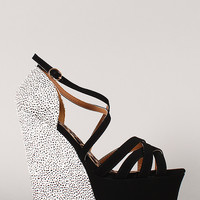 Qupid Jasper-09 Stingray Strappy Platform Wedge