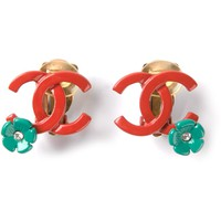 CHANEL VINTAGE enamel CC floral earrings
