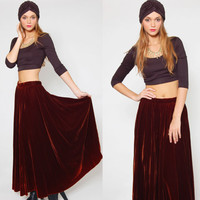 Vintage 80s VELVET Maxi Skirt Lux Chocolate Brown/Sienna Ombre Boho Glam GLORIA SACHS Long Skirt